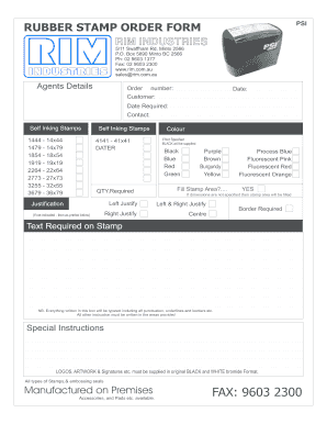 Fillable Online Rubber Stamp Order Form Psi Rim Fax Email