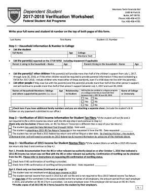 Verification of nonfiling letter from irs for student