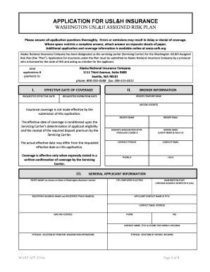 APPLICATION FOR USL&H INSURANCE WASHINGTON USL&H ASSIGNED ...