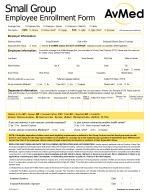Fillable Online uat avmed Employee Enrollment Form - uat ...