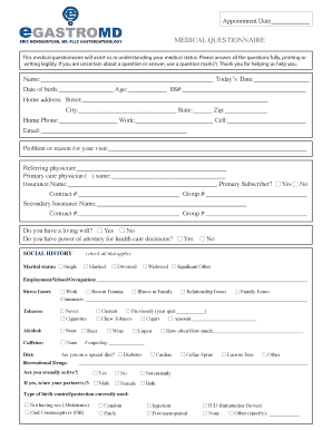 online medical questionnaire