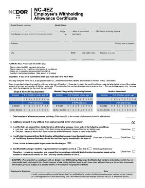 2016 Form NC DoR NC-4 EZ Fill Online, Printable, Fillable, Blank ...