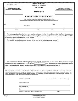 2016 Form NJ ST-4 Fill Online, Printable, Fillable, Blank - PDFfiller