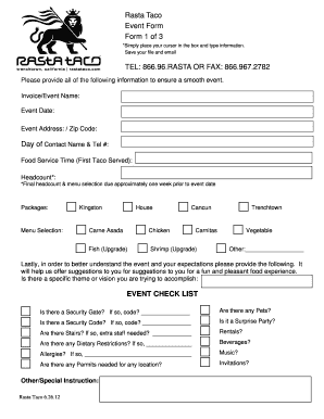 Fillable Online Event Form July 2012 doc Fax Email Print - PDFfiller