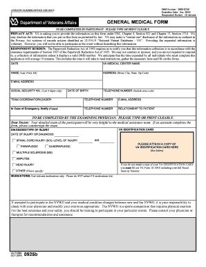 Fillable Online wheelchairgames VA Form 0925b, GENERAL