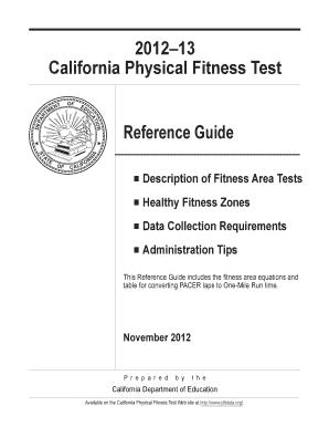 Editable california physical fitness test mile run
