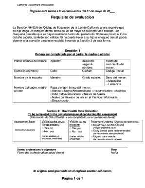 Fillable Online healthiersf Oral Health Assessment Form Spanish ...