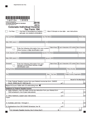 photograph about Printable Colorado Income Tax Form 104 named 2018 Style CO DoR 104 Fill On the web, Printable, Fillable, Blank