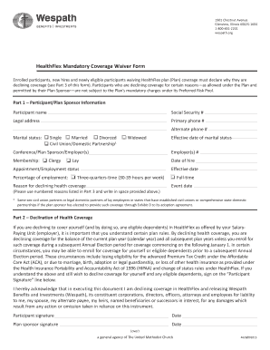 waiver of coverage affordable care act - Edit, Fill Out, Print ...