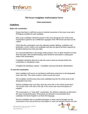 Fillable Online tmforum Online Examinations - tmforum Fax