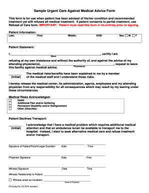 Incroyable Sample Urgent Care Against Medical Advice Form   Ucaoa