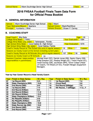 Fillable Online fhsaa 2016 FHSAA Football Finals Team Data Form ...