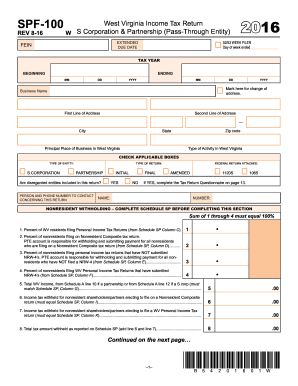 2016 Form WV DoR SPF-100 Fill Online, Printable, Fillable, Blank ...