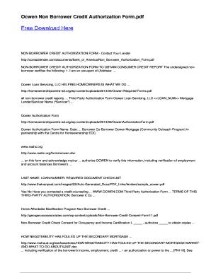 Fillable Online Ocwen Non Borrower Credit Authorization Form Fax ...