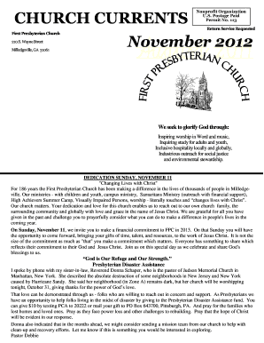 church monthly financial report template
