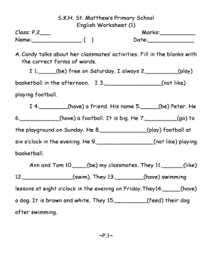 Skh St Matthews Primary School English Worksheet - Fill ...