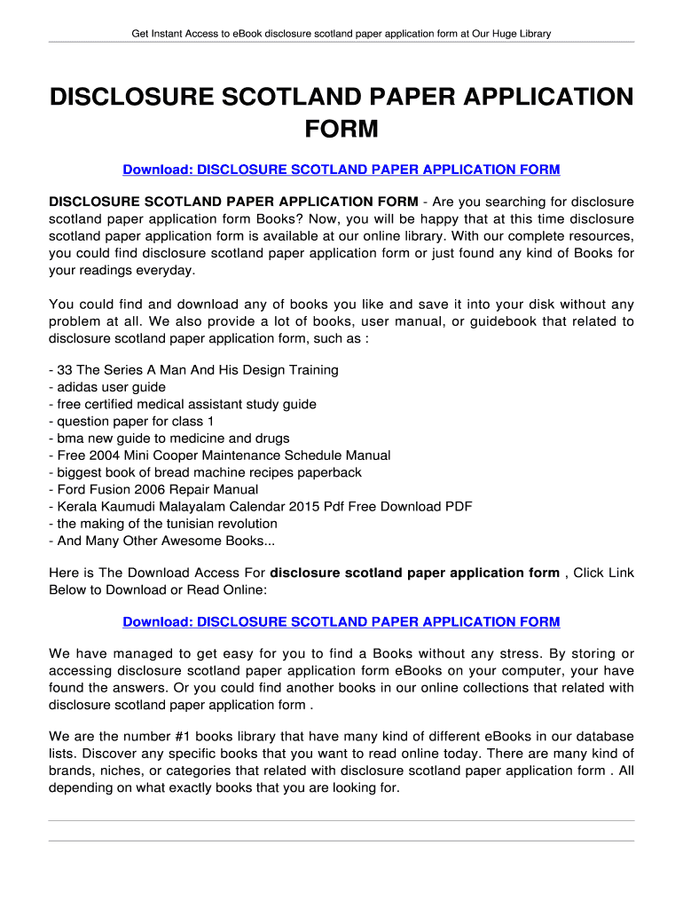 DISCLOSURE SCOTLAND PAPER APPLICATION FORM  DISCLOSURE SCOTLAND