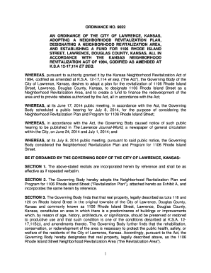 Fillable Online Ordinance No. 9022 - City of Lawrence