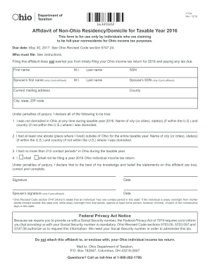 Affidavit of Non-Ohio Residency/Domicile for Taxable Year 2016