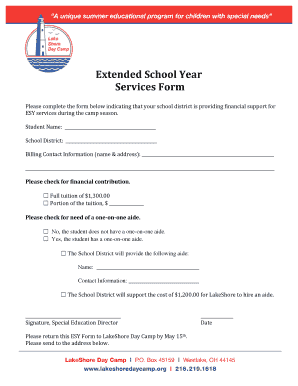 Fillable Online lakeshoredaycamp ESY Form.doc Fax Email Print ...