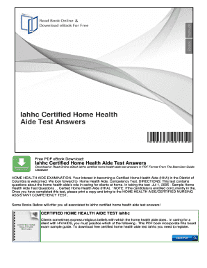 Fillable Online Iahhc Certified Home Health Aide Test Answers Fax Email Print Pdffiller