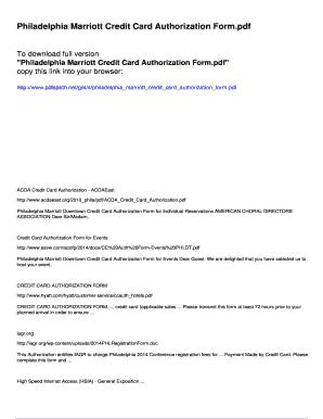Fillable Online Philadelphia Marriott Credit Card Authorization ...