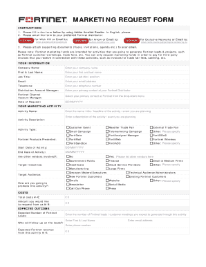 Fillable Online Marketing Request Form 2016