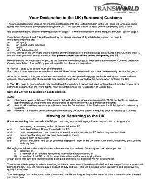 What is eu customer declaration forex