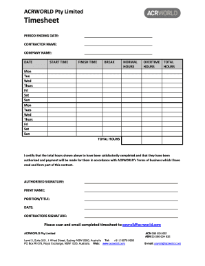 Contractor Timesheet Template from www.pdffiller.com
