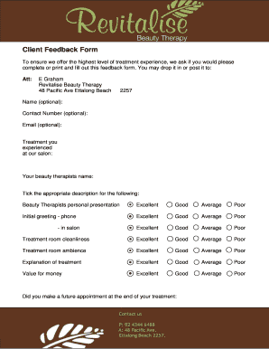 Fillable Online Client Feedback Form - Revitalise Beauty Therapy ...