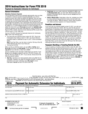 2016 Form 3519 Payment for Automatic ... - Franchise Tax Board - ftb ca