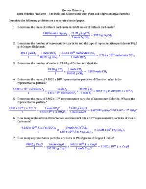 Fillable Online Answers Extra Mole Mass Rp Practice Problems