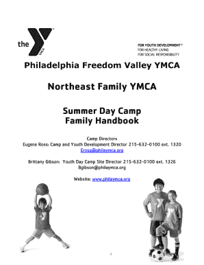 Fillable Online Summer Day Camp Family Handbook Fax Email