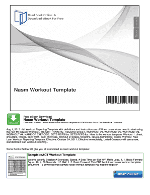 fillable online nasm workout template nocread com fax email print