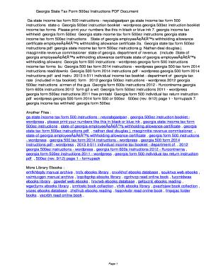 Fillable Online uffq Georgia State Tax Form 500ez Instructions PDF ...