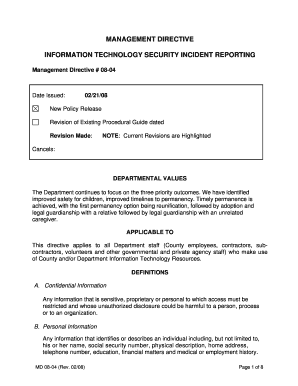 MANAGEMENT DIRECTIVE INFORMATION TECHNOLOGY SECURITY .  Incident Report Template Word Document