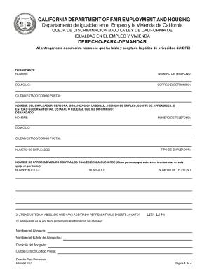 obtener un derecho para demandar california department of fair