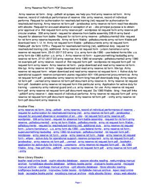 Fillable Online uwmad Army Reserve Rst Form PDF ...