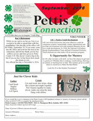 Fillable Online extension missouri September Clover Connection (PDF