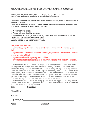 Driver Safety Course Request Form