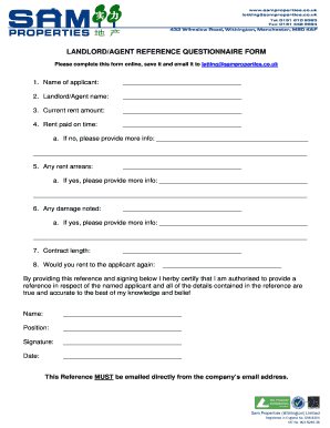 Contract between letting agent and landlord to download editable landlordagent reference questionnaire form platinumwayz