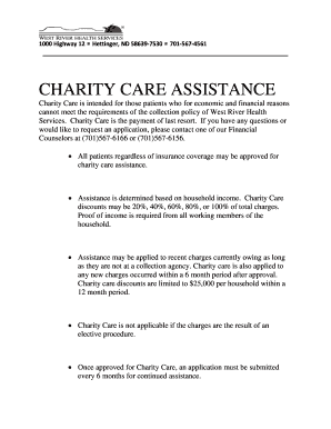 Fillable Online charity care assistance - West River Health ...