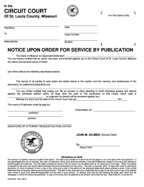 Fillable Online notice upon order for service by publication