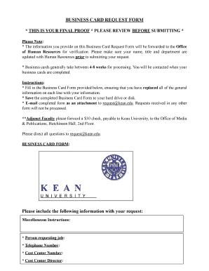 Fillable Online Kean Business Card Request Form Kean University