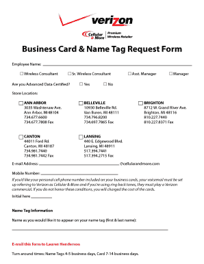 Fillable online business card name tag request form cellular rate this form colourmoves