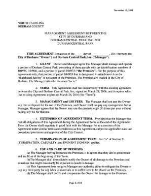 Fillable Online Durhamnc Attachment 8261 Agreement Management