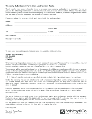 Fillable Online Buck Store Co Warranty Submission Form Non