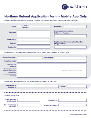Fillable Online Northern Refund Form Copy Fax Email Print