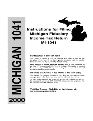 Fillable Online Form MI-1041, Instructions for Filing Michigan ...