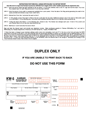 Fillable Online INSTRUCTIONS FOR FORM KW-5, KANSAS WITHHOLDING TAX ...